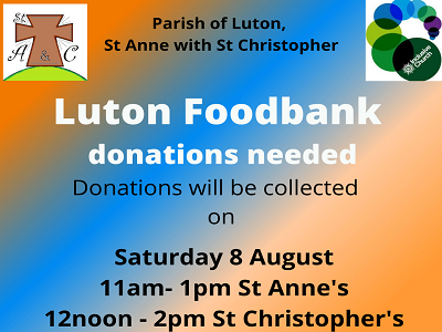 Foodbank Collection 8th August St Anne's and St Christopher's